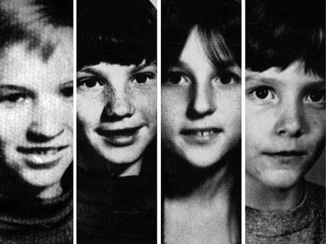 Mark D. Stebbins, 12, of Ferndale; Jill Robinson, 12, of Royal Oak; Kristine Mihelich, 10, of Berkley; and Timothy King, 11, of Birmingham. All were victims of the Oakland County Child Killer in the 1970s. / Associated Press