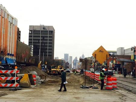 Construction on Woodward Avenue in Midtown Detroit for the M1 Light Rail ProjectJ. Carlisle Larsen (WDET)
