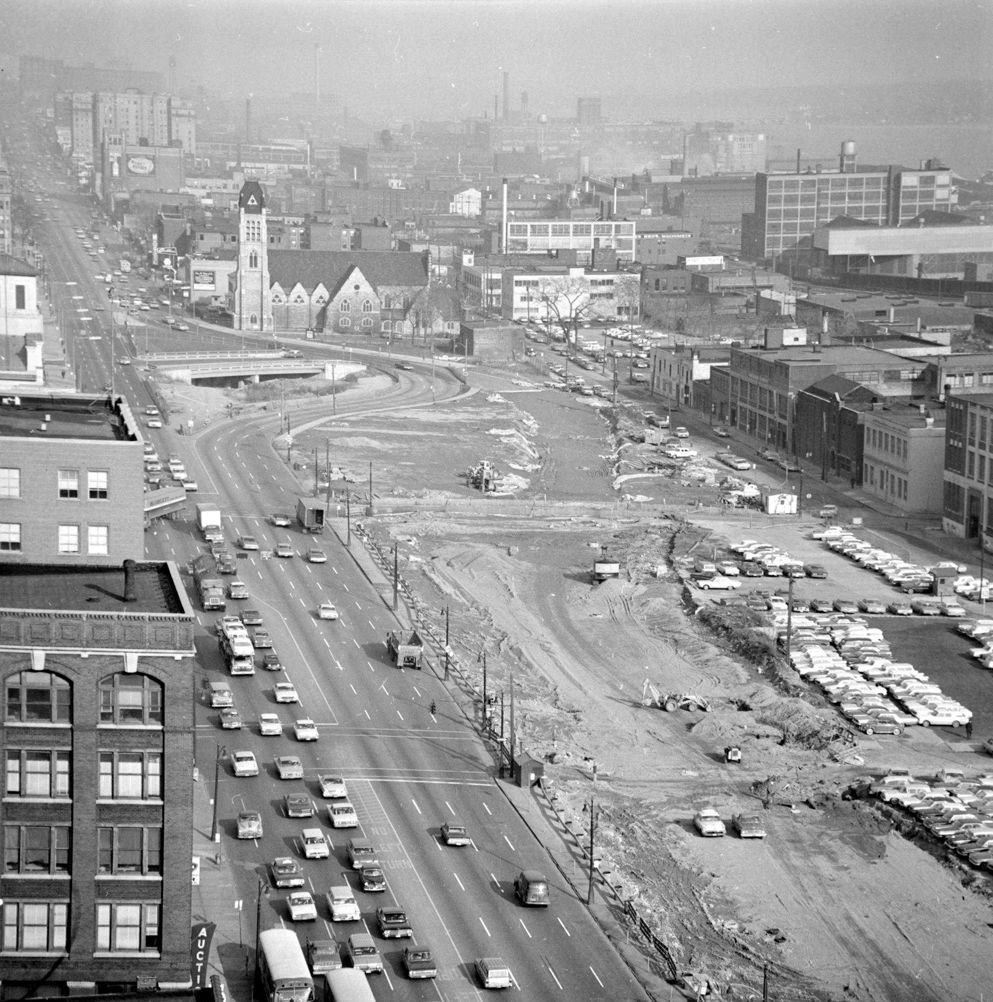 An aerial view of Detroit during the era Urban Renewal.Walter P. Reuther Library