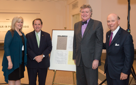 Left to Right: DIA VP Annmarie Erickson, Grand Bargain Architect/Mediator Judge Gerald Rosen, former DIA Director Graham Beal, DIA Board Pres. Gene Gargaro pictured with the Grand Bargain notes and documents Rosen donated to the DIA.  Timothy Burns