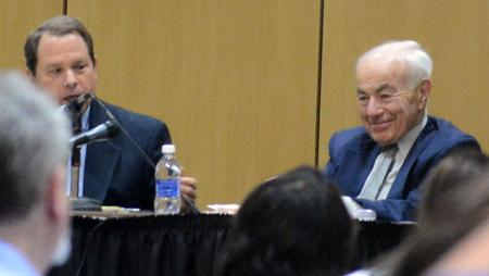 Chief U.S. District Judge Gerald Rosen and fellow bankruptcy mediator Eugene Driker appeared at Wayne State University in May 2015.Michael Ference