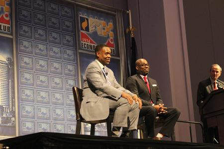 Former Detroit Emergency Manager Kevyn Orr and WDET's Stephen Henderson appeared at a Detroit Economic Club event earlier in 2015.Melissa Mason