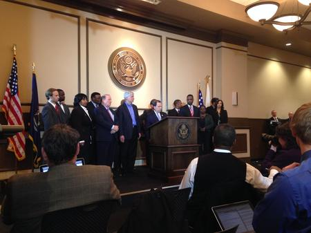 Then-Emergency Manager Kevyn Orr and the bankruptcy biggest players were on stage for the news conference following Judge Rhodes's confirmation of the Plan of Adjustment in November 2014.Sandra Svoboda