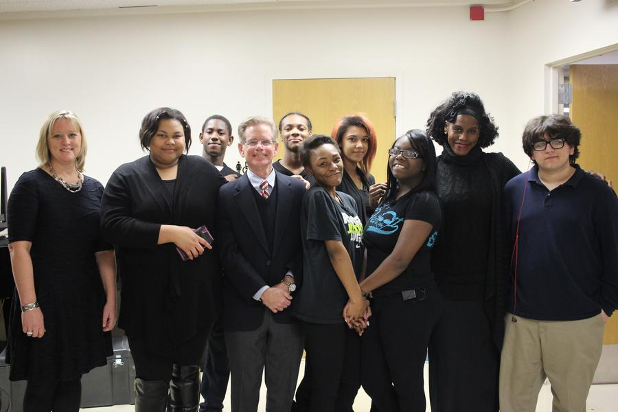 The InsideOut Literary Arts Project poets pose before their performance with Bankruptcy Judge Steven Rhodes and WDET's Sandra Svoboda.Matt Morley