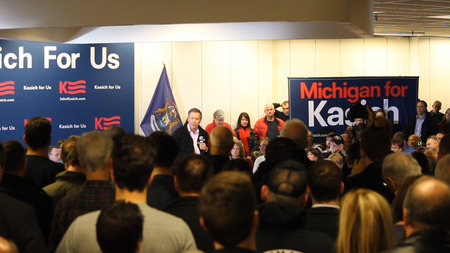 Ohio Gov. John Kasich stumped in Macomb County Monday.Matt Morley