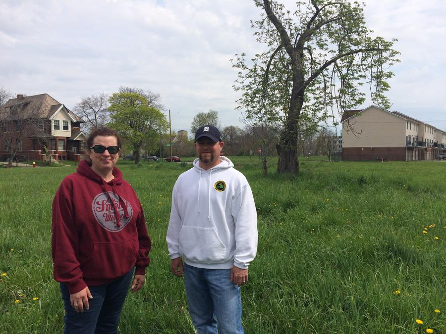 Jenni Sheridan Moss (WDET Listener) & Zach Cooley (DNR Wildlife Biologist) standing in a vacant lot north of New Center. This is where Jenni's seen two pheasants. She drives by here every day on her way to work.Shelby Jouppi