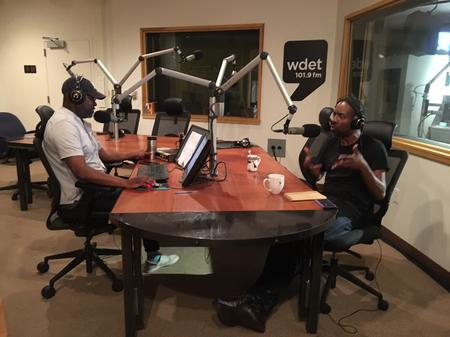 Lester Spence (right) with Stephen Henderson (left) during an appearance on Detroit Today in 2016.Jake Neher/WDET