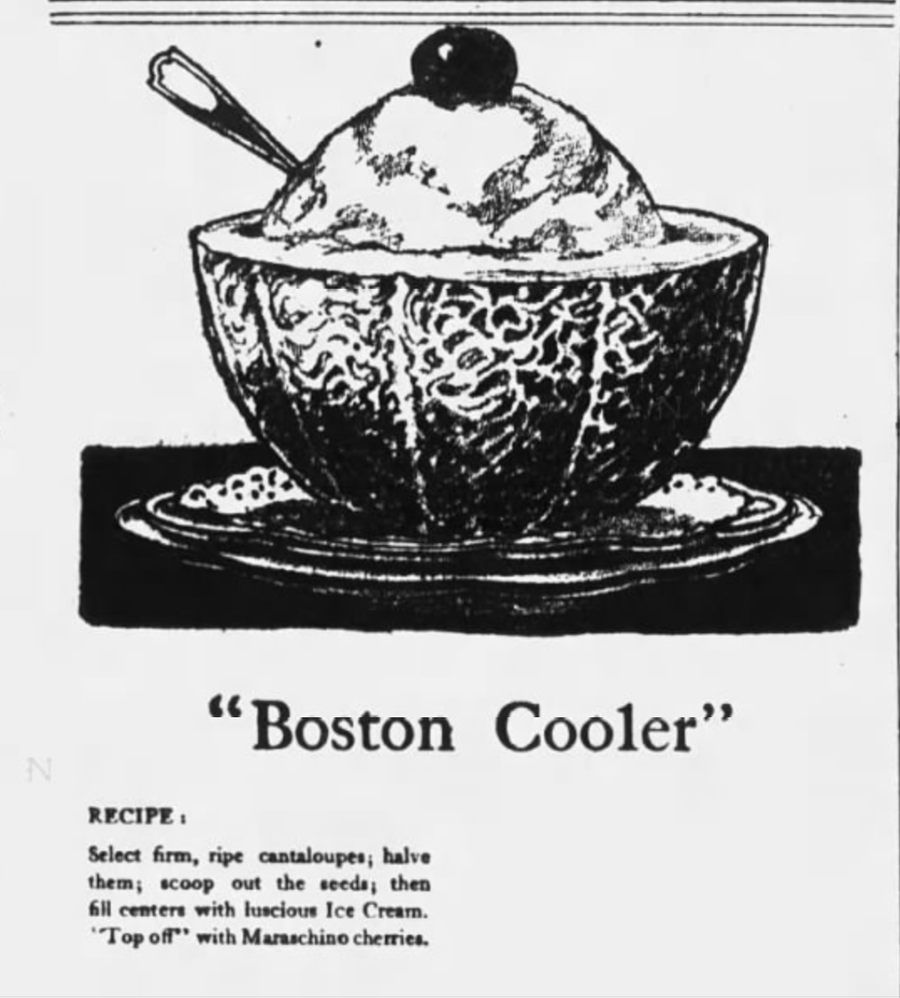 Boston Cooler Recipe: halved cantaloupe with a scoop of ice creamEli Newman / WDET