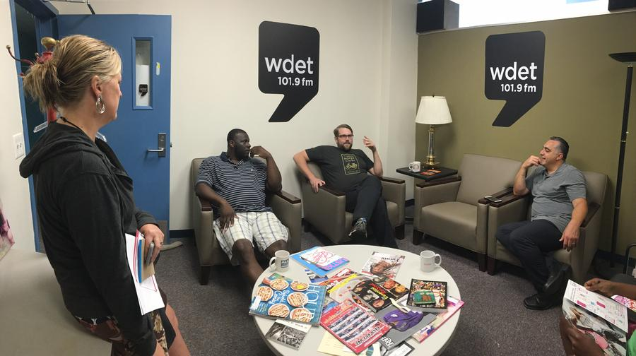 (From left to right) Sandra Svboda speaks with business owners Willie Brake, Alex Samul, and Joe GappyJake Neher/WDET