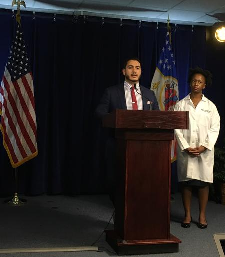 Executive Director and Health Officer at the Detroit Health Department Dr. Abdul El-Sayed (center) and Detroit Health Department Medical Director Dr. Joneigh Khaldun (right)Eli Newman / WDET