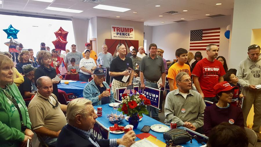 Trump volunteers and supporters gather as a new campaign office opens in Clinton Township, Michigan.Courtesy of Lisa Mankiewicz