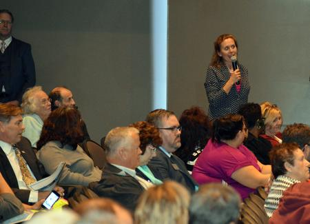 Janet Sutherland asks a question at a forum on the Wanye County RESA Educational Enhancement Millage at Livonia Franklin High School Tuesday, October 18, 2016.Jennifer Weingart