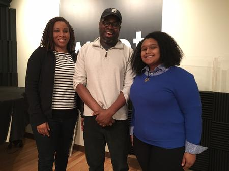 New Detroit school board members Sonya Mays (left) and Misha Stallworth (right) with Stephen Henderson (center)Jake Neher/WDET