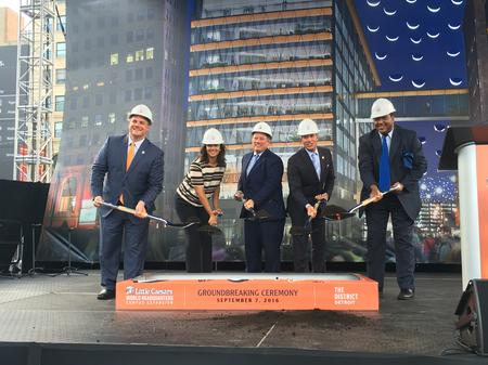 Groundbreaking ceremony at the site of Little Caesars Arena.Eli Newman / WDET