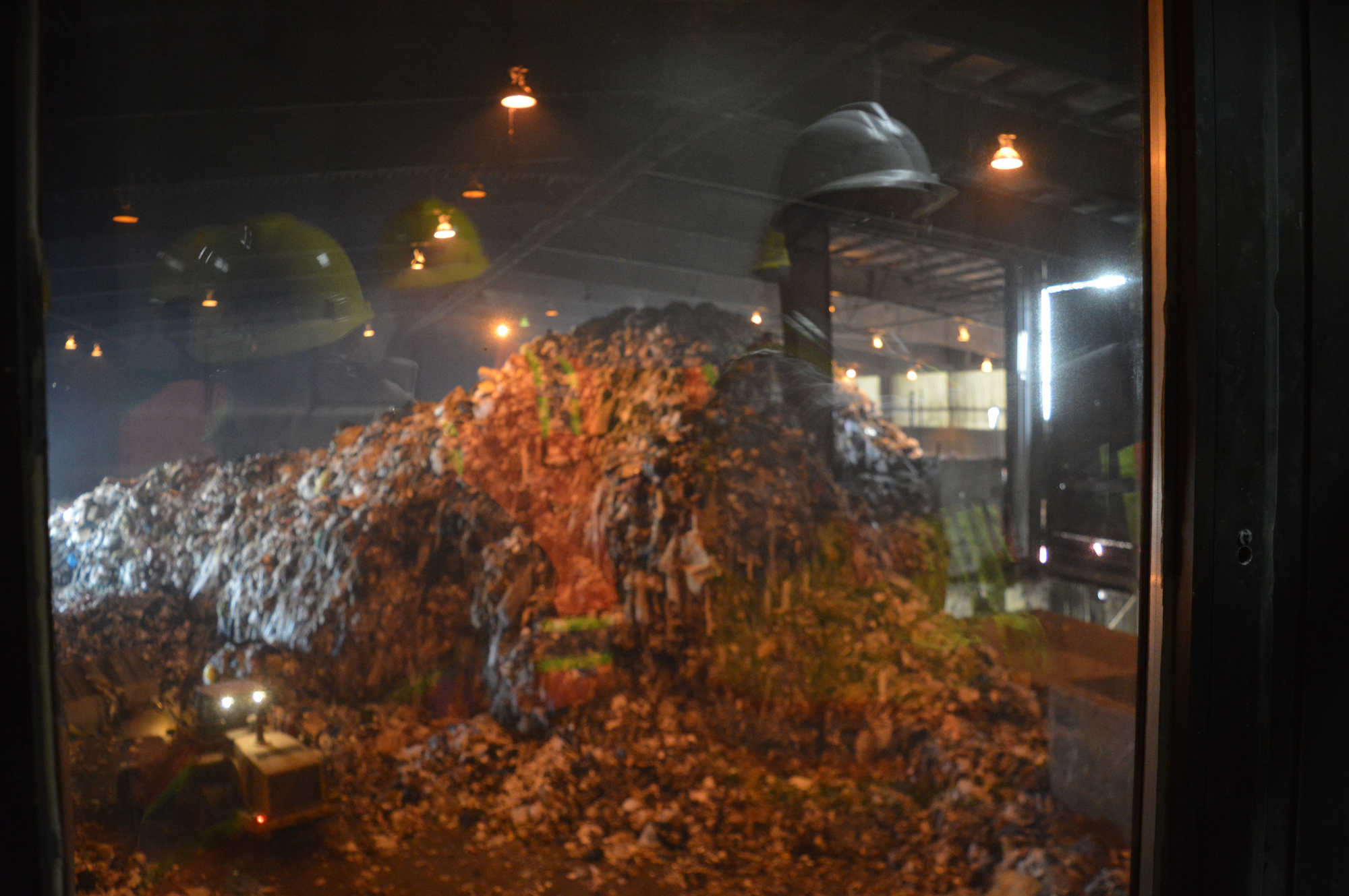 Overlooking the tipping floor at Detroit Renewable Power. It's a Friday, and trash has been accumulating throughout the week to be burned on the weekend.Jennifer Weingart