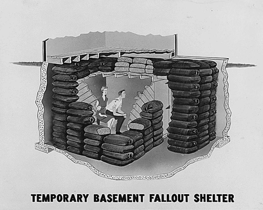 Government-suggested fallout shelter design, 1950s.U.S. Department of Energy