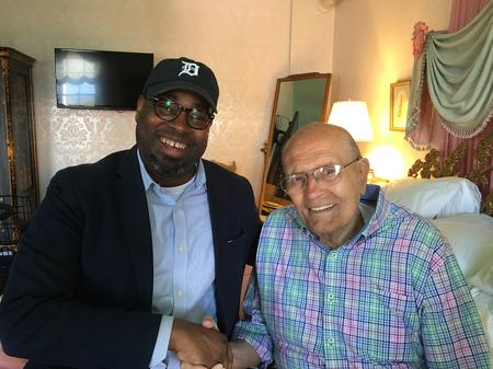 Stephen Henderson (left) with former Rep. John Dingell (right) in 2016Joan Isabella/WDET