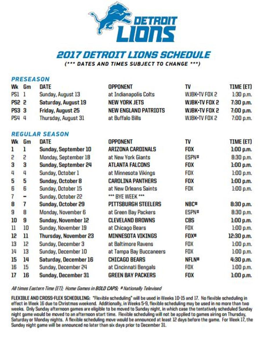 graphic relating to Minnesota Vikings Printable Schedule identified as Lions Announce 2017 Timetable WDET