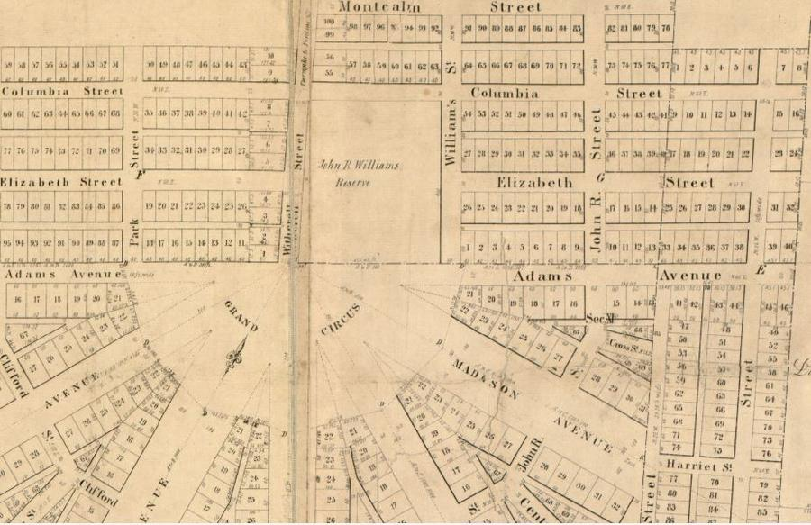 In 1835, Witherell Street was named Williams Street.Library of Congress