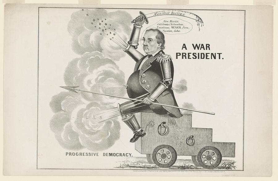 "Cass was the Democratic nominee for President in 1848. A political cartoon interprets Cass' belief in ""Manifest Destiny"" as leading the country to war. Library of Congress"
