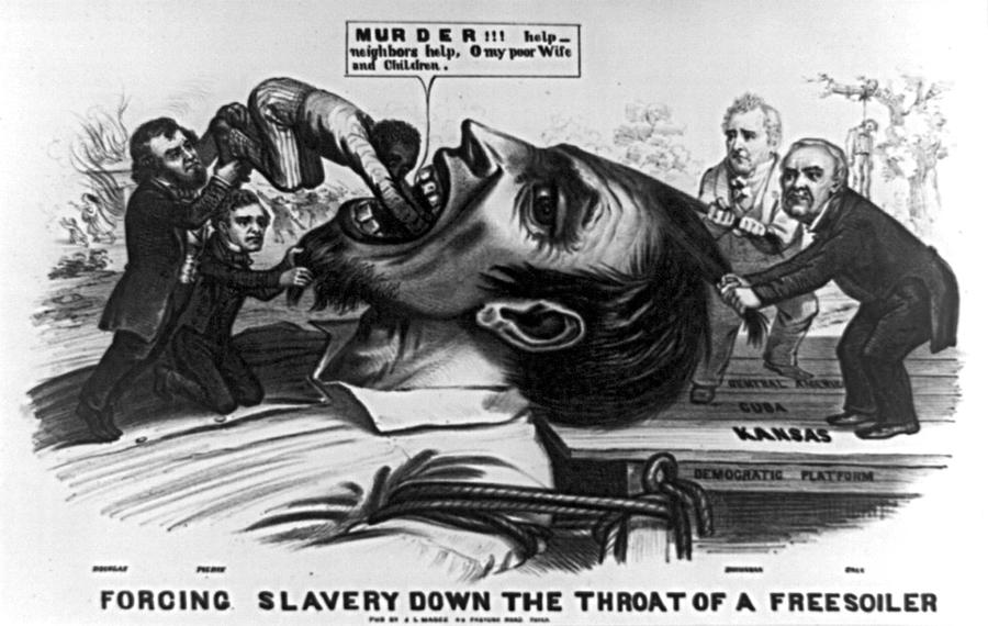 Political cartoon (1856) depicts an anti-slavery Freesoiler being held down by Democratic party members. Lewis Cass is on the far right.Library of Congress