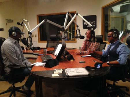 Stephen Henderson (left) speaks with Don Perry (center) and Thomas Allen Harris (right)Gus Navarro/WDET