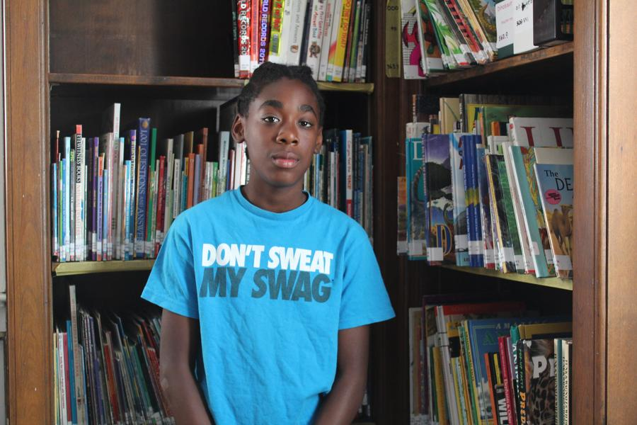 Trevelle Crosby, 13, is one of the students at the James and Grace Lee Boggs School who studied what happened in 1967.WDET/Laura Herberg