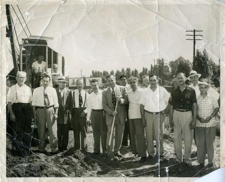 1952 groundbreaking of an addition to the Dearborn Mosque in Dearborn's South End.From the Collection of the Arab American National Museum