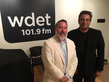 Peter Trumbore (left) and Saeed Khan (right) during an appearance on Detroit Today with Stephen Henderson in August 2017.Jake Neher/WDET