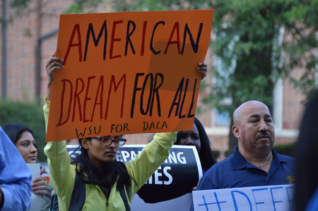 Detroiters rally in Clark Park Tuesday to protest the Trump Administration's decision to end the federal DACA programJake Neher/WDET