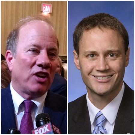 Detroit Mayor Mike Duggan (left) and state House Speaker Tom Leonard (right)WDET//Michigan House GOP