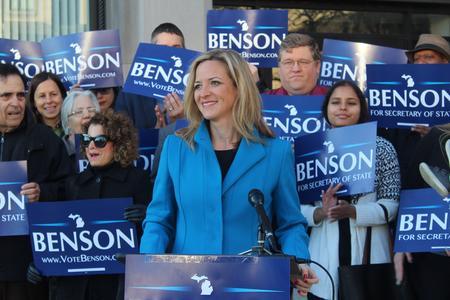 Secretary of state candidate Benson wants max 30-minute wait