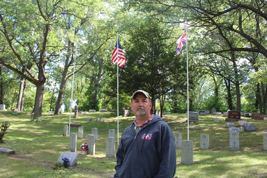 Listener Tom Batts at Oak Ridge Cemetery where the remains of the crew are buried.Sandra Svoboda/WDET