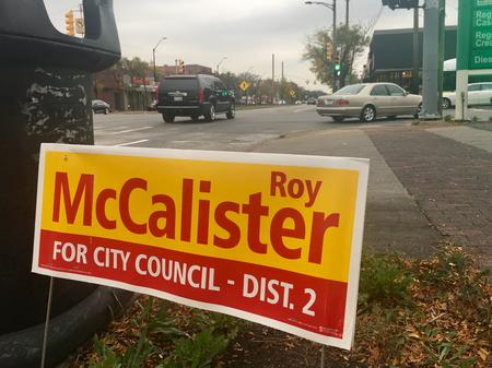 A campaign sign for Roy McCalister Jr. on Livernois and 7 Mile Road.Eli Newman / WDET