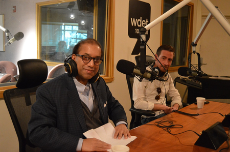 Detroit Regional Chamber CEO Sandy Baruah (left) and Crain's Detroit Business Reporter Kirk Pinho (right)Jake Neher/WDET