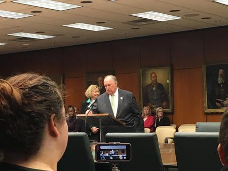 John Engler speaks at a Michigan State University Board of Trustees meeting after being named interim presidentCheyna Roth/MPRN
