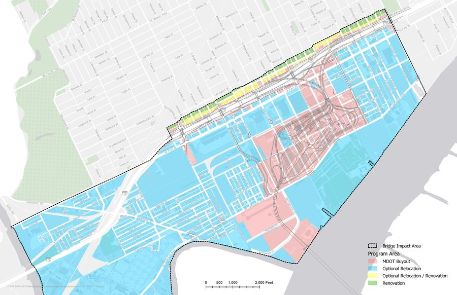 The pink area shows land acquired using eminent domain. Homeowners in the blue and yellow areas may be eligible for Home Swap. City of Detroit