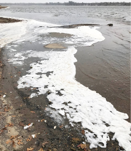 PFAS contaminated foam on Van Etten Lake in Oscoda, MI.Anthony Spaniola