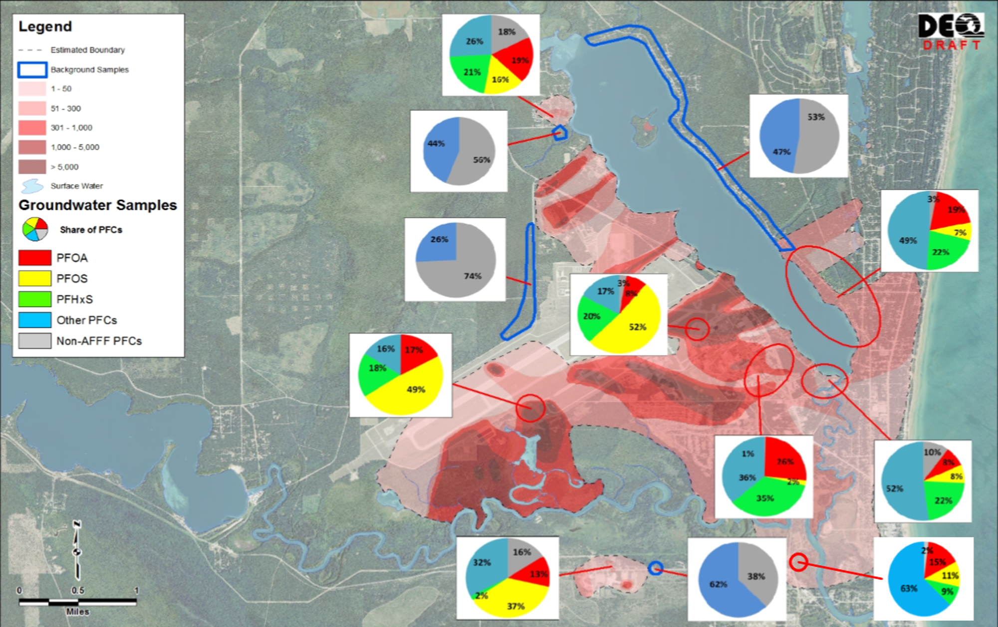 This chart shows MDEQ's work on testing PFAS levels on Van Etten Lake in Oscoda, MI. The red areas show the size and contamination levels of the groundwater plume.MDEQ