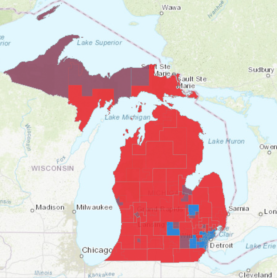 Here, a map of Michigan's State Senate and House Districts are overlaid. Red areas were won by Republicans, blue areas by Democrats. Purple areas show regions in the state where representation in Lansing in split between the two parties. In most cases, many of the purple areas show State House Districts where Democrats won, but whose State Senate seats were taken by Republicans.Eli Newman / WDET