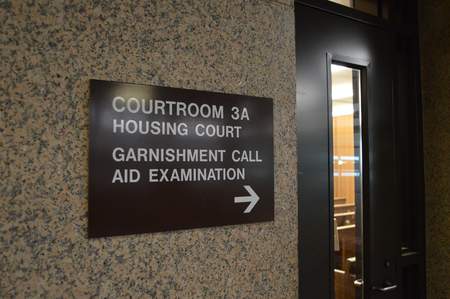 Courtroom 3A in Cleveland's Justice Center is where eviction cases go before a magistrate.Jake Neher/WDET