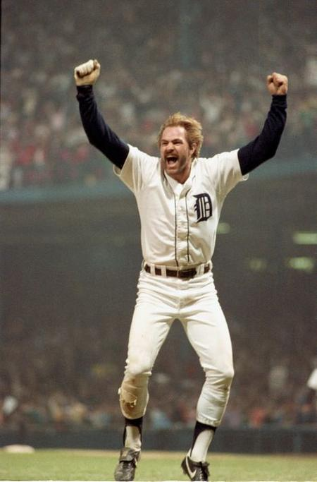 It's one of Mary Schroeder's best-known images and one of the most iconic photos in Michigan sports history -- Detroit Tiger Kirk Gibson celebrating one of two home runs in Game 5 of the World Series against the San Diego Padres on Oct. 14, 1984 in Detroit.Mary Schroeder / Detroit Free Press