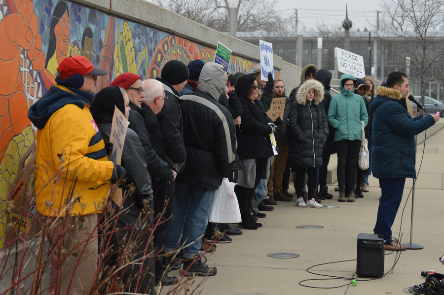 Activists gather at the east landing of the Bagley Street pedestrian bridge.Jake Neher/WDET