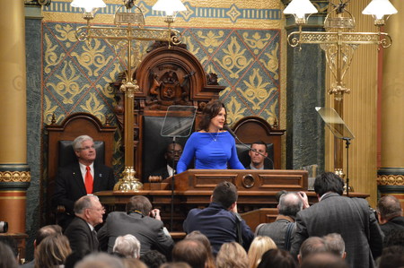 Gov. Whitmer giving her 2019 State of the State address.Jake Neher/WDET