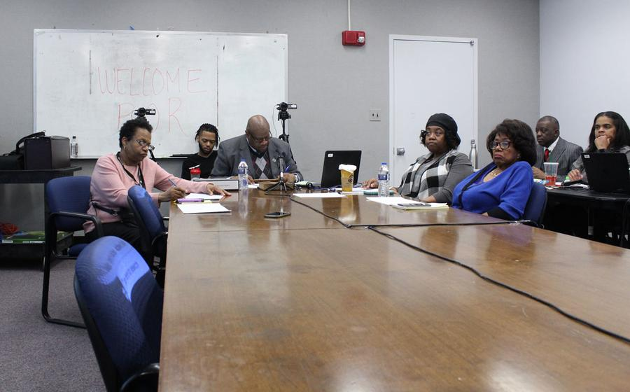 The Board of Review meets in a windowless room at the Coleman A. Young Municipal Center in Detroit.Laura Herberg