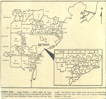 A map of the Michigan Board of Education busing plan, published by The Detroit News in 1972. The state was ordered to draft a plan following a federal order by Judge Stephen Roth. Canton Township is located outside the boundary west of Westland-Wayne.Walter P. Reuther Library, Wayne State University