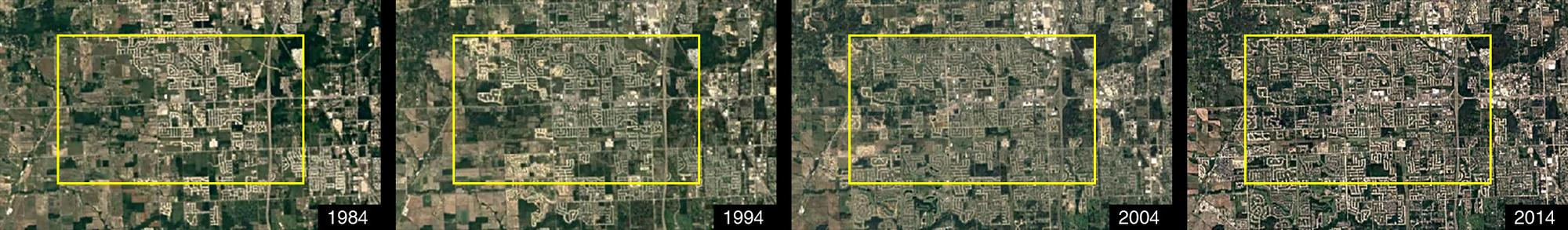 Canton's growth over 30 years as seen through Google Earth Timelapse images. Google Earth