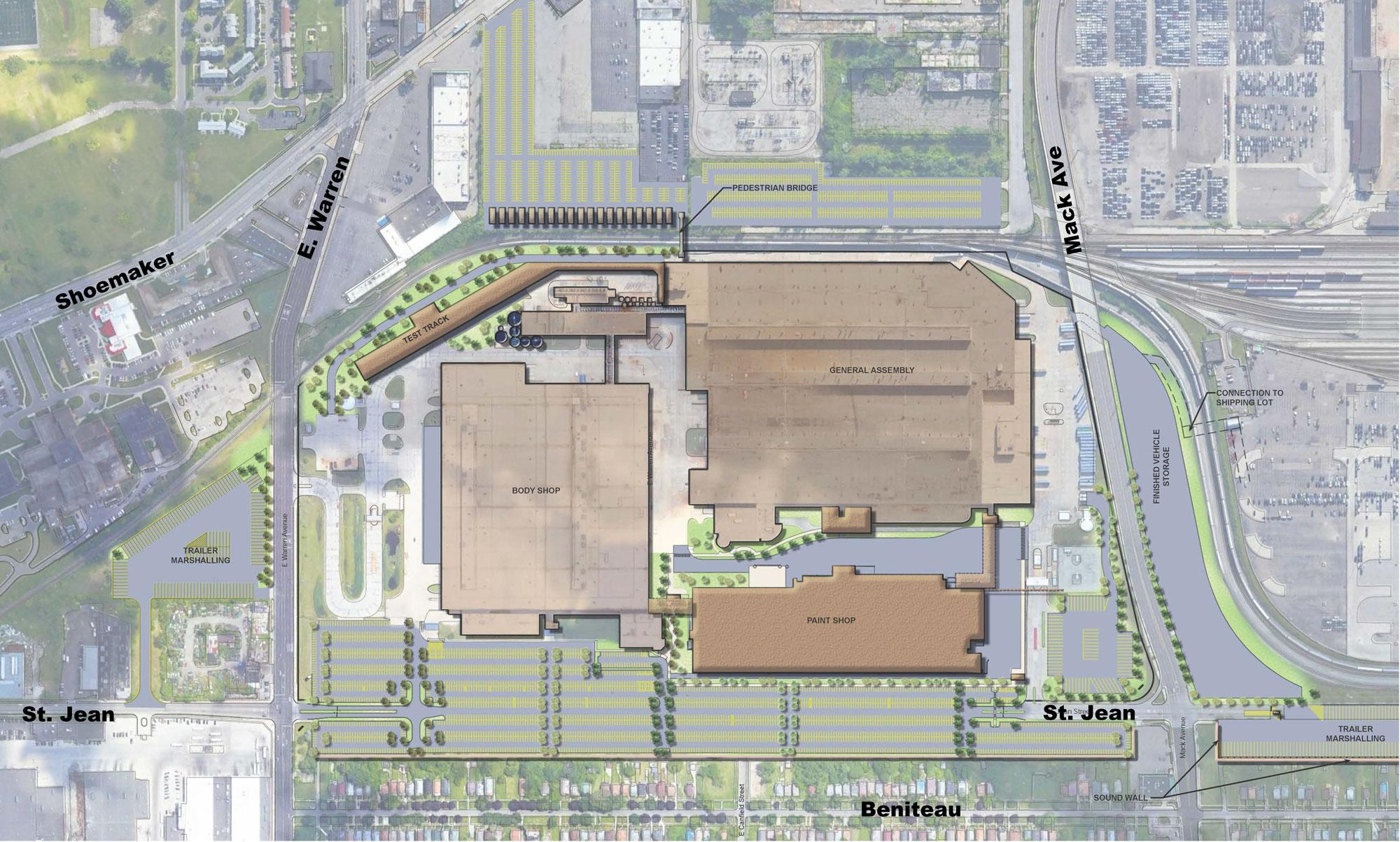 Fiat Chrysler's plans for the Jefferson North Plant Expansion. Beniteau St. can be seen to the south of the rendering.FCA