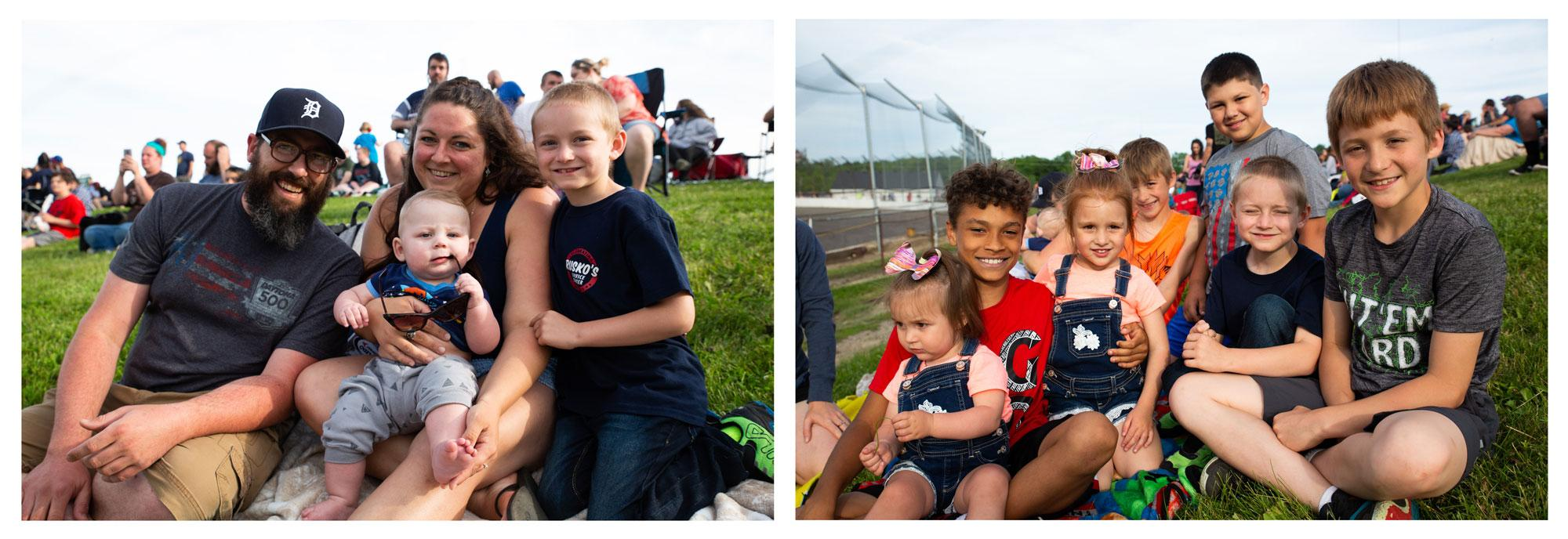 Young fans at Flat Rock Speedway. Their favorite part? 'When they try to hit each other.'Shiraz Ahmed