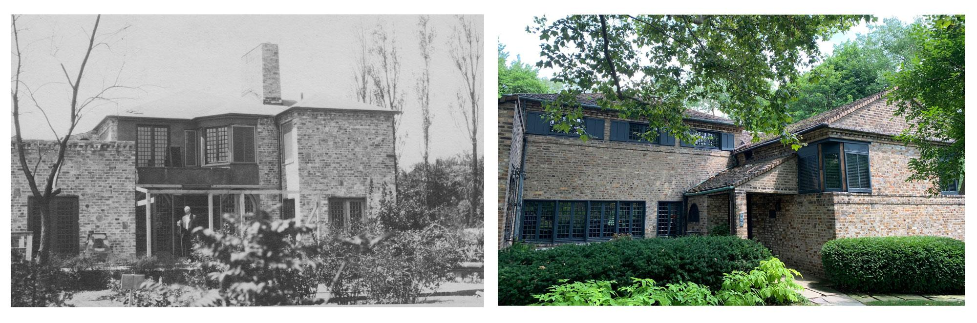 The Stratton house in an archival photo, left, and today, right.Pat Batcheller